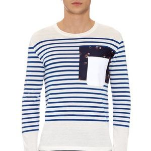 Alexander McQueen White & Blue Breton Stripe TeeXL